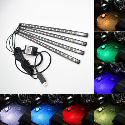72 LED Multi Color Car Footwell Atmosphere Lights Phone APP Wireless Control USB