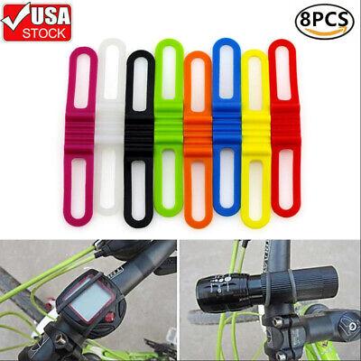 Universal Bicycle Flashlight Holder Mount 360 Degree Adjustable Rubber Straps Bi