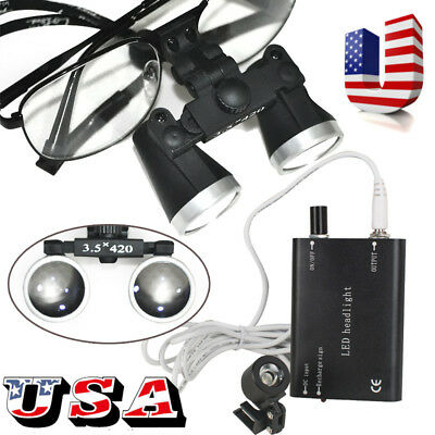 3.5x 420mm Surgical Medical Binocular Loupes Metal Loupe Dental Led Head Light