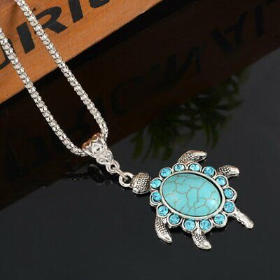 Women Boho Turquoise Rhinestone Turtle Pendant Silver Plated Chain Necklace - Turtle Necklaces
