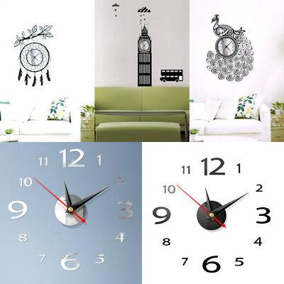 (Modern 3D Wall Clock DIY Home Decoration Crystal Mirror Vinyl Art Sticker Design)
