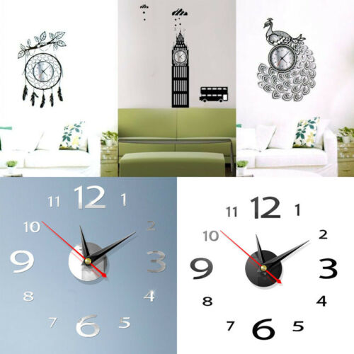 Home Decoration - Modern 3D Wall Clock DIY Home Decoration Crystal Mirror Vinyl Art Sticker Design