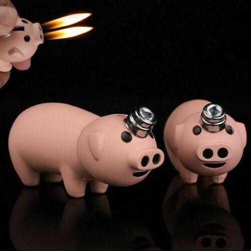 Pig Shaped Refillable Butane Gas Lighter Double Flame USA Seller!