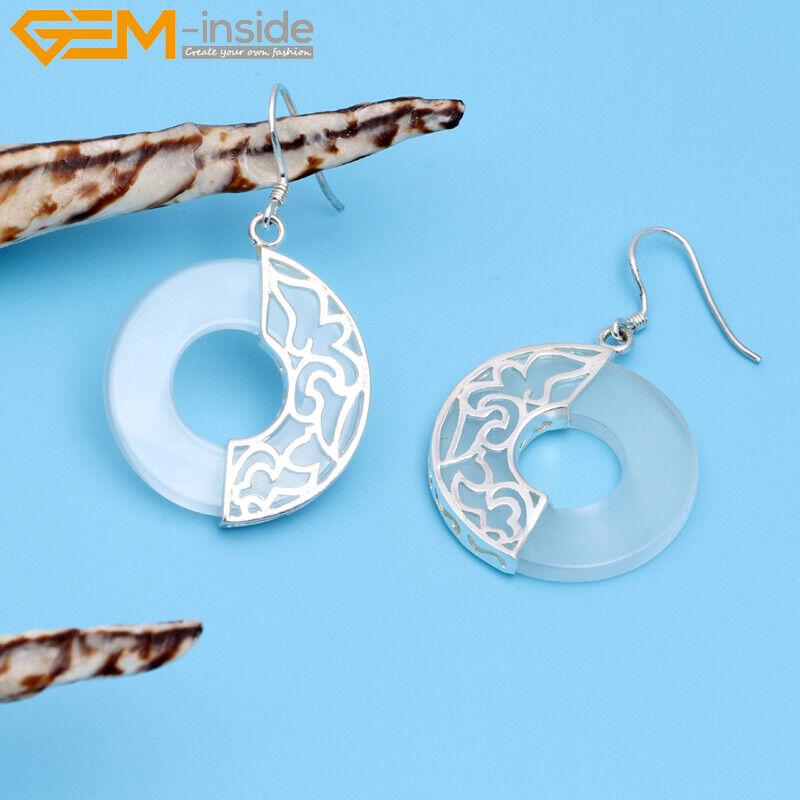 16 mm Donuts ring stone bead Perles Plaqué Argent Dangle Boucles d/'oreilles avec boîte cadeau