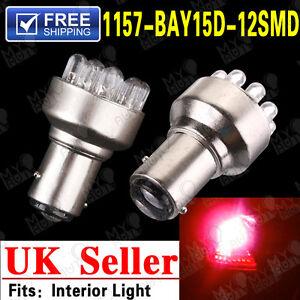 2x 1157 BAY15D P21/5W 380 12SMD LED Red Car Brake Tail Stop Turn Light Bulb 12V