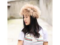 DAYMISFURRY-- Knit Raccoon Fur Headband / Neck warmer