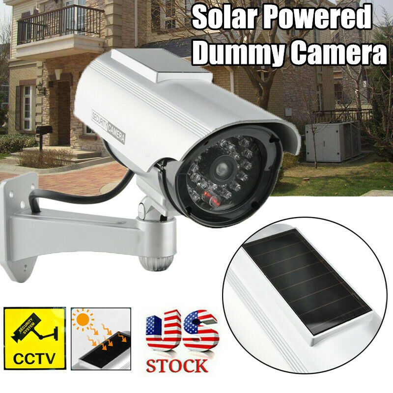 Solar Power Dummy Security Camera Fake LED Blink Light Outdoor Surveillance CCTV
