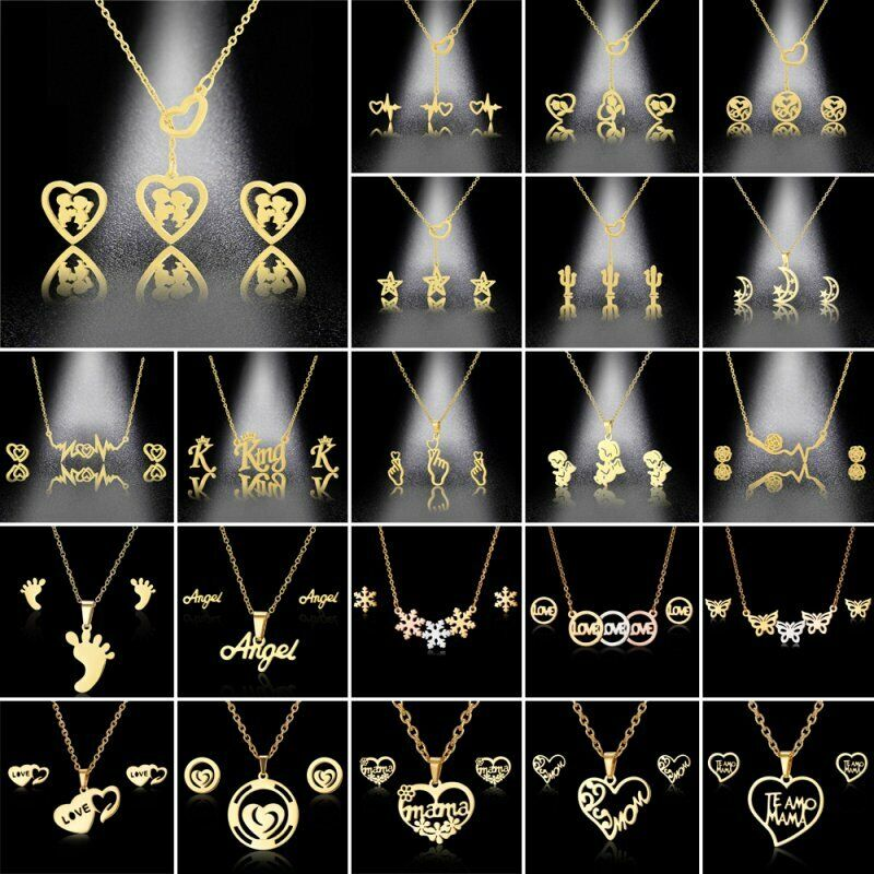 Gold Heart King Pendant Necklace Earrings Stainless Steel Women Jewelry Set Gift