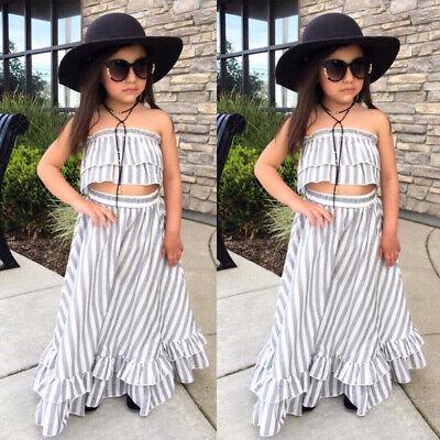 US Kid Toddler Baby Girl Striped Tops Long Skirt Sundress Dress 2Pcs Set (Sundress Set)
