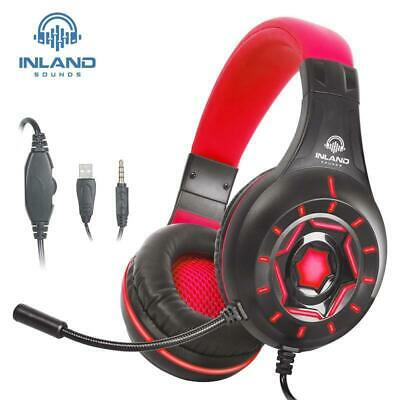 Gaming Stereo Mic Headset Headphone Red Inland Sound For PS4/Xbox One/Series/PC