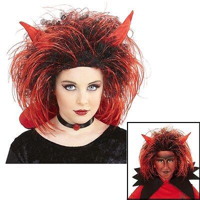 Kinder Teufel Perücke mit Hörner - Halloween Karneval Kostüm Zubehör # - Kostüm Mit Hörner