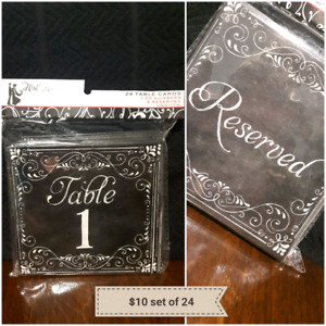 Brand new in package set of 24 table number cards