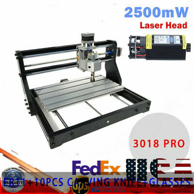 3axis Cnc 3018 Pro Machine Router Engraving Pcb Metal Diy Mill2500mw Laser Head