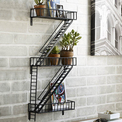 Design Ideas Fire Escape Book Shelf Hand-Welded Steel Urban Style