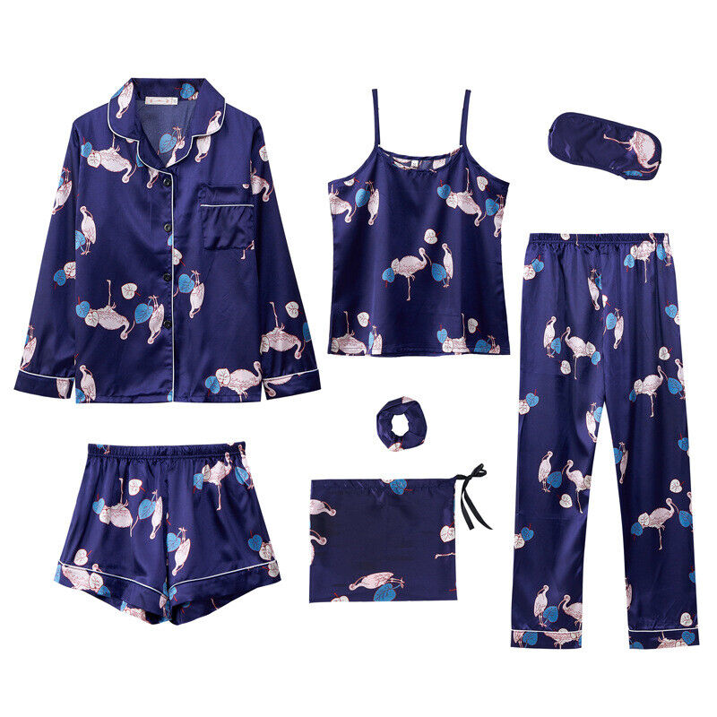 Womens Ladies Silk pajamas Set Pajamas for women Sleepwear 7 piece suit