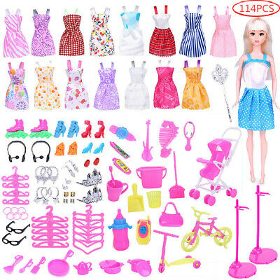114pcs/Set For Barbie Doll Dresses Shoes Jewellery Clothes Accessories Gift Set