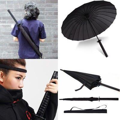 Japanese Katana Windproof Warrior Umbrella Black Samurai Sword Handle Strap Fold