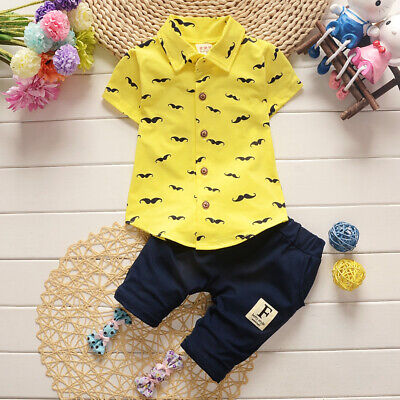 Summer Toddler Baby Kids Clothes Boys Outfits Sets Short Sleeve T-Shirt + Pants