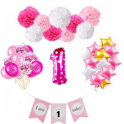 Rosa Thema Mädchen Baby Dusche Folie Ballon Banner Set Geburtstag Party Decor (Baby Geburtstag Party Thema)