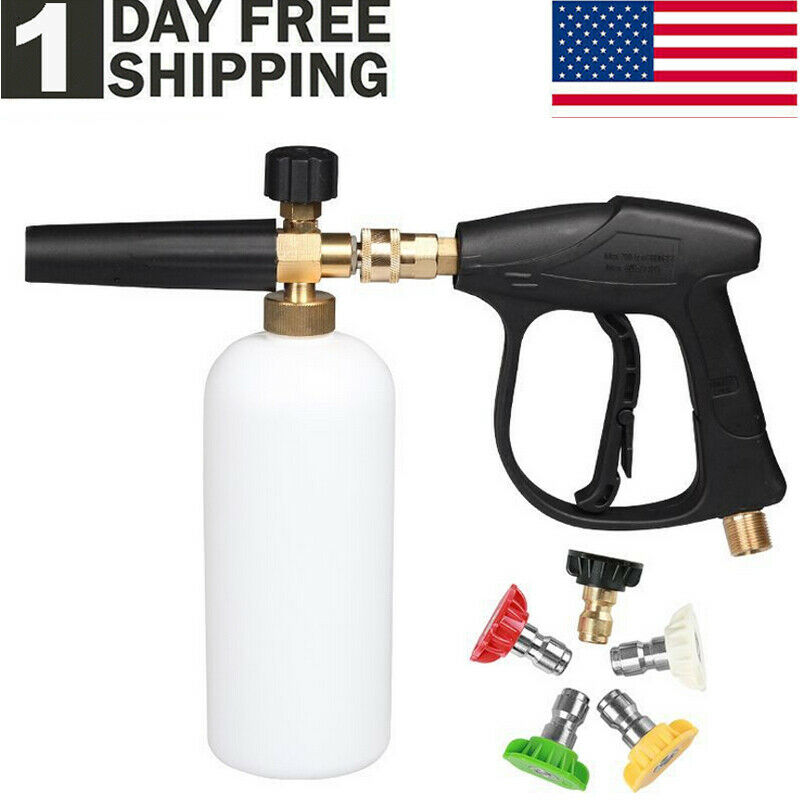 "1/4"" Snow Foam Pressure Washer Gun Car Wash Soap Lance Cannon Spray Jet Bottle"