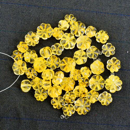 175.00 Carats Natural Untreated Yellow Citrine Round Carved Drilled Beads Lot