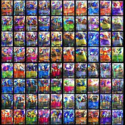 100Pcs 80 EX + 20 MEGA Pokemon Card Holo Flash Trading Cards Lot Mixed USA SHIP