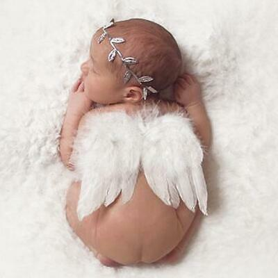 Süße Baby Set Engel Haarband Flügel Feder Kostüm Fotoshooting Weiß/Silber