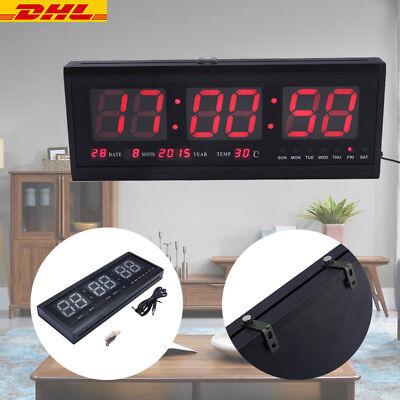 Multi LED Wanduhr Digital Uhr mit Datum Temperatur für Wohnzimmer Rot XXL DE