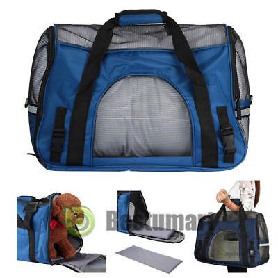 Pet Carrier Soft Sided Large Cat / Dog Comfort Sapphire Blue Bag Travel Approved