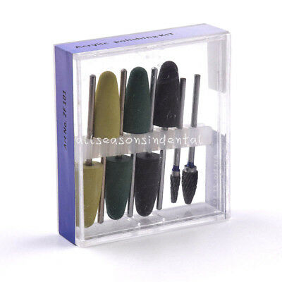 Dental Silicone Resin Base Acrylic Polishing Kit Burs Drill Polisher Rotary 8pcs