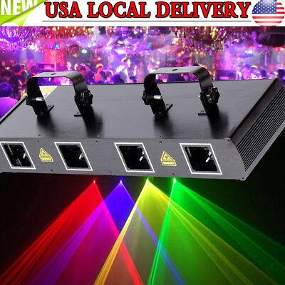 4 Lens 4 Beam 760mw Red Green Yellow Violet Stage DJ Laser Disco Light DMX512