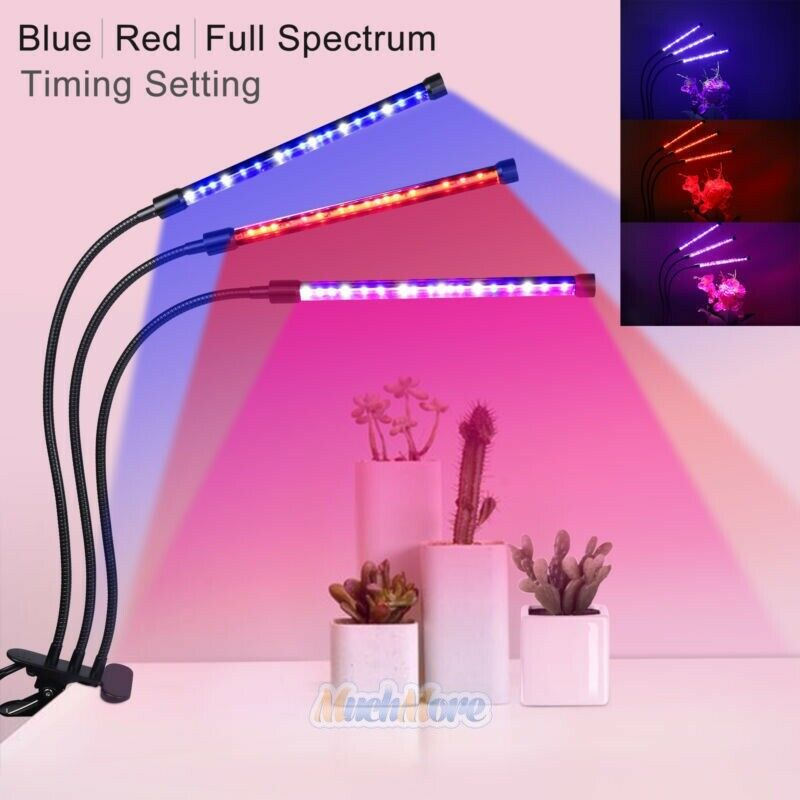 36W 60 LEDs Plant Grow Light Lamp Triple Head For Indoor Plants Hydroponics NEW