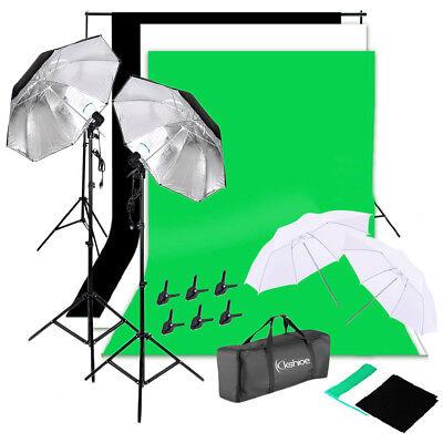NEW Photo Studio Lighting Photography 2 Backdrop Stand Light Kit Umbrella Set US