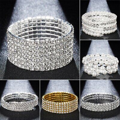 - Chic Rhinestone Crystal Stretch Bracelet Bangle Wristband Wedding Bridal Party