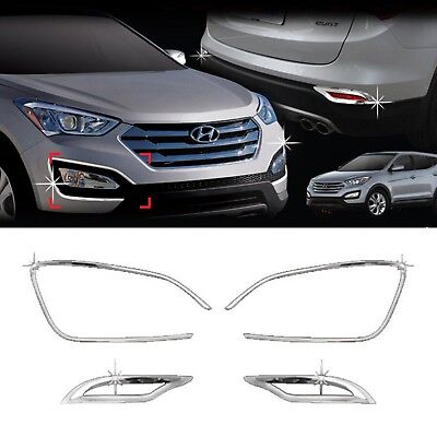 Chrome Front Rear Fog Light Lamp Cover Trim For HYUNDAI 2013-2016 Santa Fe DM