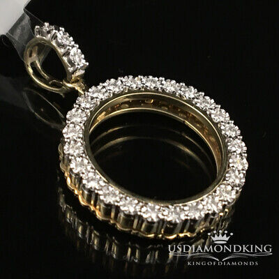 10K Yellow Gold .24c Genuine Diamond Picture Memory Frame Medallion Pendant 20mm Yellow Gold Round Picture Pendant