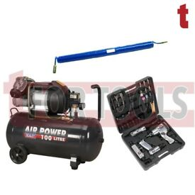 Sealey SAC10030VE Compressor 100 Litre 3hp + Air Tool Kit drill impact + Hose