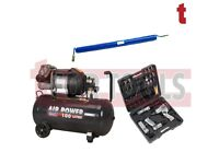 Sealey SAC10030VE Compressor 100 Litre 3hp + Air Tool Kit drill impact + Hose