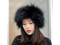 DAYMISFURRY---Knit Luxe Raccoon Fur Headband / Neckwarmer In Black