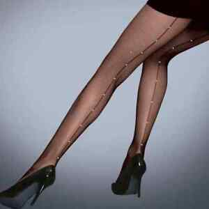 Scarlet Diamante Back Seam Black Fishnet tights