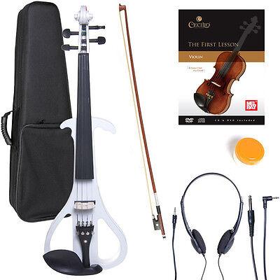 NEW 4/4 Ebony Electric Violin w/Pickup-White,Style-4
