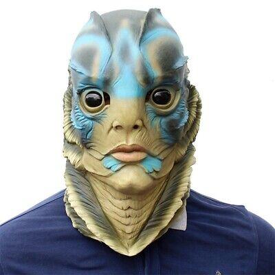 Merman Halloween Costume (Halloween Sea Creature Costume Party Fish Man Face Mask Merman Props Head)