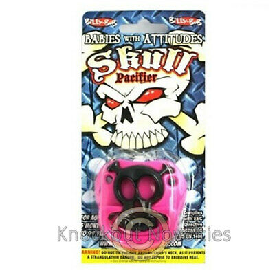 Pink Pirate Skull Pacifier Funny Novelty Cute Binky - Novelty Pacifiers