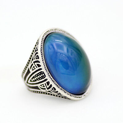 Mood Ring For Sale (Real Antique Silver Plated 18*25MM Oval Mood Stone Ring Size 7/8/9 for)