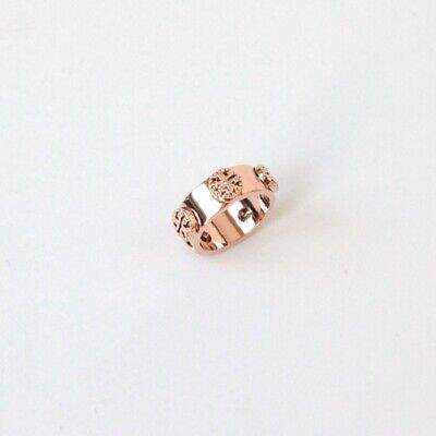 AUTH NWT TORY BURCH MILGRAIN LOGO RING ROSE GOLD SIZE 6