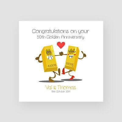 Personalised Handmade 50th Gold Wedding Anniversary Card - Fiftieth, Funny