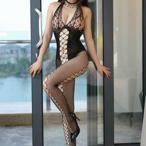 US Adult Sexy Fishnet Body Stockings Bodysuit Babydoll Sleepwear Womens Lingerie 1