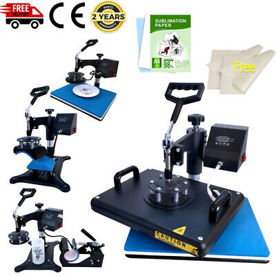 5in1 Heat Press Machine Swing Away110pcs Sublimation Paper T-shirt Mugplate
