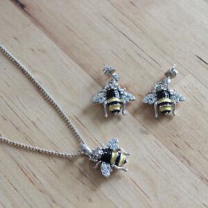 bee earrings & necklace