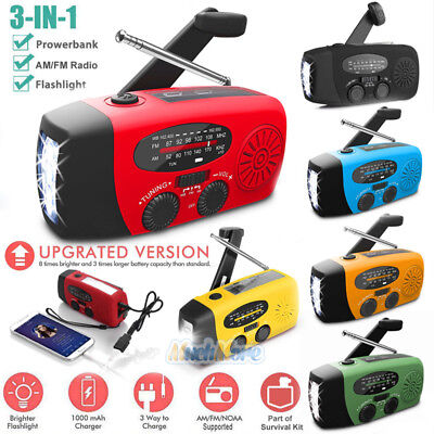 Emergency Solar Hand Crank Dynamo Am Fm Wb Noaa Weather Radio Led Torch Charger